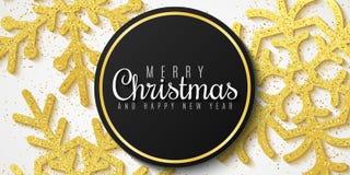 Drapeau de Noël Flocons de neige des scintillements d'or Fond pour la bonne année et le Joyeux Noël Fond de luxe et de fête Vect images libres de droits