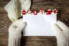 Drapeau de Noël Lettre au père noël Fond d'hiver de list d'envie Image libre de droits