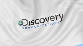 Drapeau de ondulation avec le logo de communications de découverte Animation d'éditorial de la boucle 4K de Seamles illustration stock