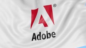 Drapeau de ondulation avec le logo d'Adobe Systems Animation d'éditorial de la boucle 4K de Seamles illustration de vecteur