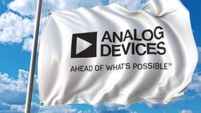 Drapeau de ondulation avec le logo d'Analog Devices Rendu d'Editoial 3D illustration libre de droits