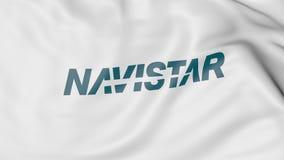 Drapeau de ondulation avec le logo d'International de Navistar Rendu 3D éditorial Image libre de droits