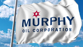 Drapeau de ondulation avec le logo de Murphy Oil Rendu d'Editoial 3D Images libres de droits
