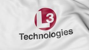 Drapeau de ondulation avec le logo des technologies L3 Rendu 3D éditorial Image libre de droits