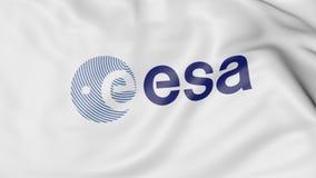 Drapeau de ondulation avec le logo européen d'ESA d'agence spatiale Rendu 3D éditorial Images stock