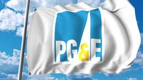 Drapeau de ondulation avec le logo Pacifique de gaz et d'Electric Company Rendu d'Editoial 3D Photos stock