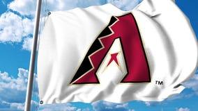 Drapeau de ondulation avec le logo professionnel d'équipe d'Arizona Diamondbacks Rendu 3D éditorial Photographie stock libre de droits