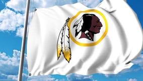 Drapeau de ondulation avec le logo professionnel d'équipe de Washington Redskins Rendu 3D éditorial illustration de vecteur