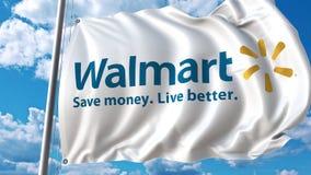 Drapeau de ondulation avec le logo de Walmart contre les nuages mobiles animation de l'éditorial 4K banque de vidéos