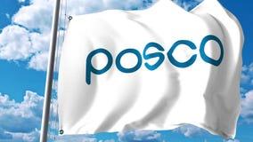 Drapeau de ondulation avec Pohang Iron et logo de Steel Company POSCO contre les nuages et le ciel Rendu 3D éditorial Photos libres de droits