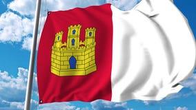 Drapeau de ondulation de Castille-La Mancha la communauté autonome en Espagne illustration libre de droits