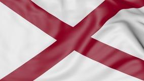 Drapeau de ondulation d'état de l'Alabama rendu 3d Photos libres de droits
