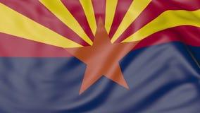 Drapeau de ondulation d'état de l'Arizona rendu 3d Photos libres de droits