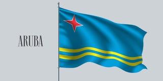 Drapeau de ondulation d'Aruba sur l'illustration de vecteur de mât de drapeau Photos libres de droits