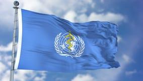 Drapeau de ondulation d'OMS de l'Organisation Mondiale de la Santé Image stock
