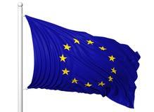 Drapeau de ondulation d'Union européenne sur le mât de drapeau Images stock