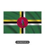 Drapeau de ondulation de la Dominique sur un fond blanc Illustration de vecteur illustration libre de droits