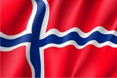 Drapeau de ondulation de la Norvège Image stock