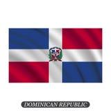 Drapeau de ondulation de la République Dominicaine sur un fond blanc Illustration de vecteur illustration de vecteur