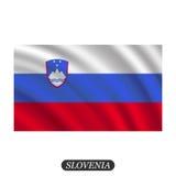 Drapeau de ondulation de la Slovénie sur un fond blanc Illustration de vecteur Image libre de droits