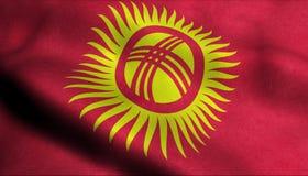 Drapeau de ondulation du Kirghizistan dans 3D illustration libre de droits
