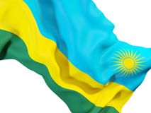 Drapeau de ondulation du Rwanda illustration stock