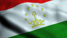Drapeau de ondulation du Tadjikistan dans 3D illustration stock
