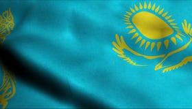 Drapeau de ondulation de Kazakhstan dans 3D illustration libre de droits