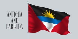 Drapeau de ondulation de l'Antigua-et-Barbuda sur l'illustration de vecteur de mât de drapeau Images stock