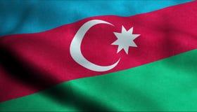Drapeau de ondulation de l'Azerbaïdjan dans 3D illustration libre de droits