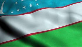 Drapeau de ondulation de l'Ouzbékistan dans 3D illustration de vecteur