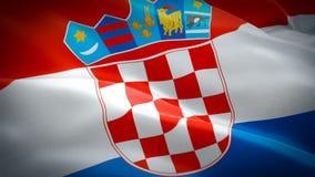 Drapeau de ondulation de la Croatie Ondulation croate nationale du drapeau 3d Signe d'animation sans couture de boucle de la Croa illustration de vecteur