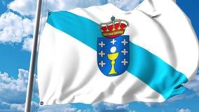 Drapeau de ondulation de la Galicie la communauté autonome en Espagne illustration de vecteur