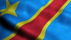 Drapeau de ondulation de la République démocratique du Congo dans 3D illustration libre de droits