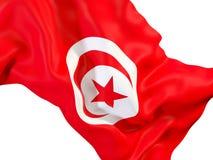 Drapeau de ondulation de la Tunisie illustration stock