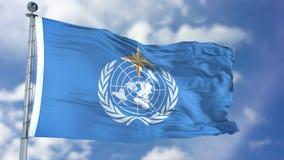 Drapeau de ondulation météorologique de l'organisation WMO du monde Photos stock