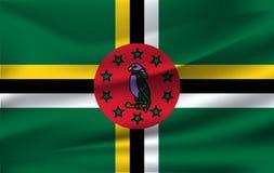 Drapeau de ondulation réaliste du drapeau de ondulation de la Dominique, drapeau débordant texturisé par tissu de haute résolutio illustration stock