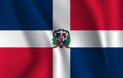 Drapeau de ondulation réaliste du drapeau de ondulation de la République Dominicaine, drapeau débordant texturisé par tissu de ha illustration stock