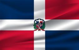 Drapeau de ondulation réaliste du drapeau de ondulation de la République Dominicaine, drapeau débordant texturisé par tissu de ha illustration de vecteur