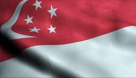 Drapeau de ondulation de Singapour dans 3D illustration stock