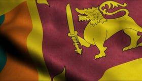 Drapeau de ondulation de Sri Lanka dans 3D illustration libre de droits