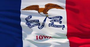 Drapeau de ondulation de tissu de l'Iowa, illustration 3d illustration de vecteur