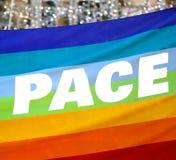 Drapeau de paix avec le PAS écrit italien Image libre de droits