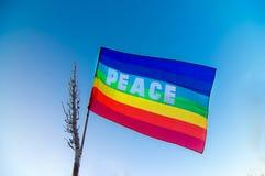 Drapeau de paix dans le ciel bleu Image libre de droits