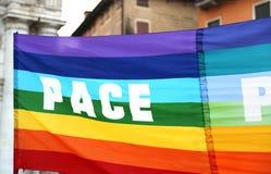 drapeau de paix pendant une démonstration des activistes de paix Photo libre de droits
