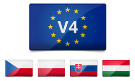 Drapeau de pays de groupe de V4 Visegrad Photo stock