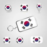 Drapeau de pays de la Corée du Sud sur Keychain et style différent de goupille de carte illustration de vecteur