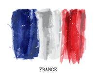 Drapeau de peinture d'aquarelle des Frances Vecteur illustration libre de droits