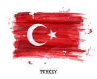 Drapeau de peinture d'aquarelle de la Turquie Vecteur illustration stock