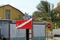 Drapeau de piqué sur la plage images libres de droits